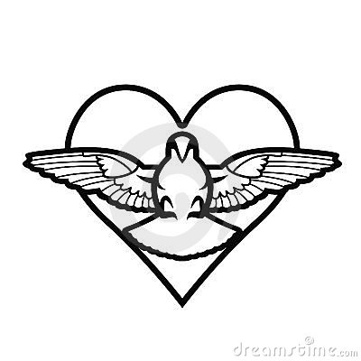 Dove, heart, tattoo