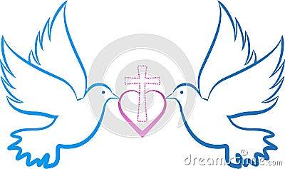Dove love cross Vector Illustration