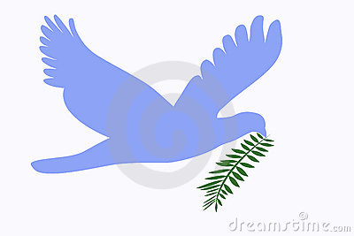 Dove of peace with twig