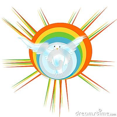 Dove with rainbow