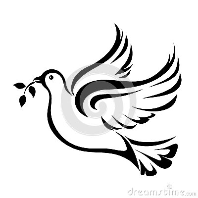 Free Dove. Symbol Of Peace. Vector Black Silhouette. Stock Photography - 52980332
