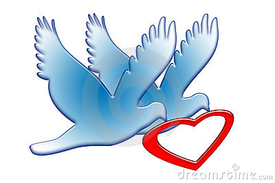 Doves with Red Heart
