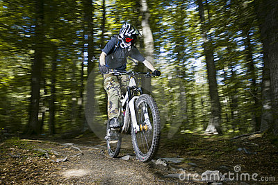 Downhill mountain bikers