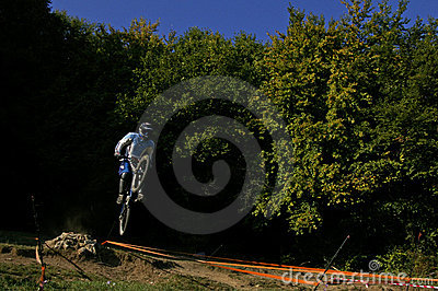 Downhill racer after jump