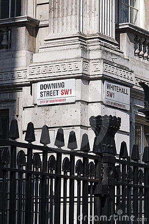 Downing Street nameplate at corner with Whitehall Editorial Photo