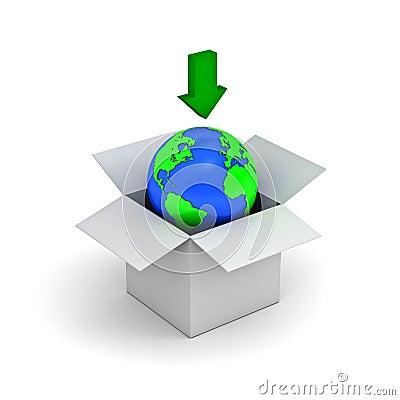 Download concept, earth globe in a white box