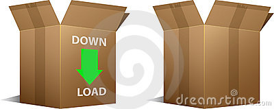 Download icon and blank cardboard boxes