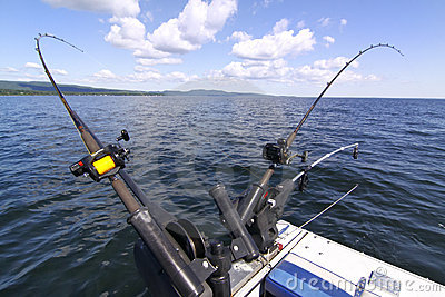 Downrigger fishing rods for salmon, lake trout Editorial Stock Photo