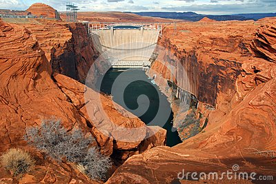 Downstream View of the Glen Canyon Dam, Utah