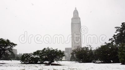 Downtown Baton Rouge Capital Snow stock footage