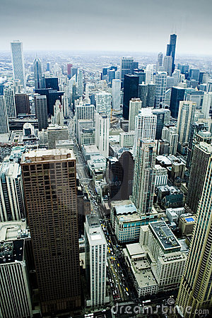 Downtown Chicago from 92 stories - vertical