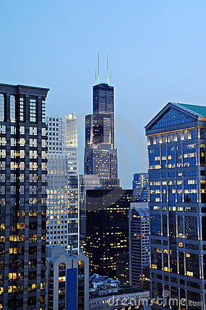 Free Downtown Chicago At Night Stock Photos - 5021873