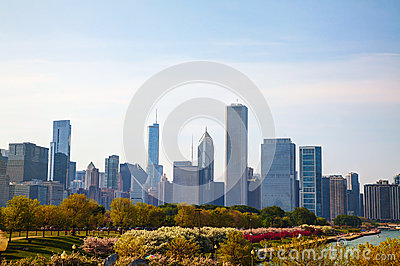 Downtown Chicago, IL in the morning Editorial Photography