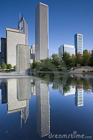 Downtown Chicago reflected