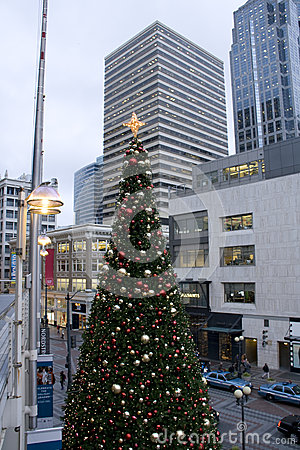 Downtown Christmas tree Editorial Image