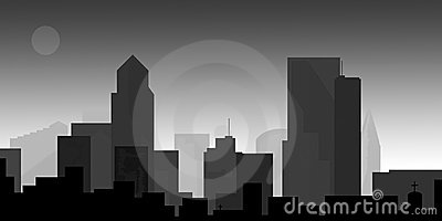 Downtown cityscape at dusk