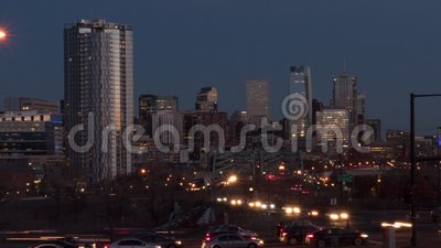 Downtown Denver Day to Night Zoom In stock footage