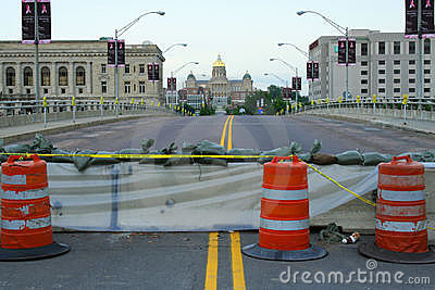 Downtown Des Moines Closed for Flooding Editorial Image