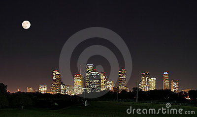 Downtown Houston Night Pano