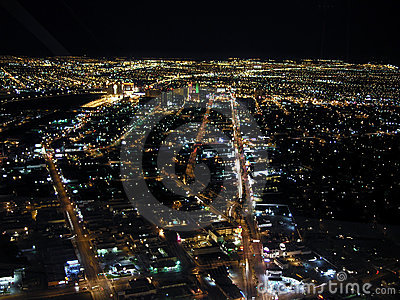 Downtown Las Vegas Night Editorial Stock Photo