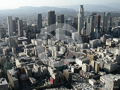 Downtown Los Angeles Editorial Aerial Editorial Stock Photo
