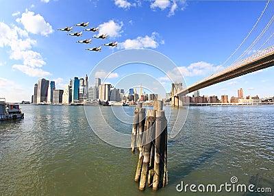The downtown Manhattan skyline