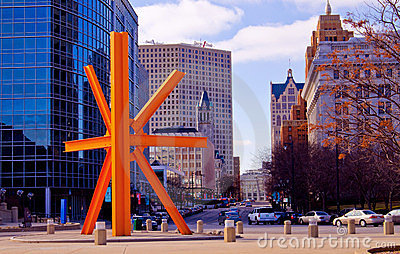 Downtown Milwaukee, West along Wisconsin Avenue Editorial Image