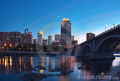 Downtown Minneapolis MN & Moon