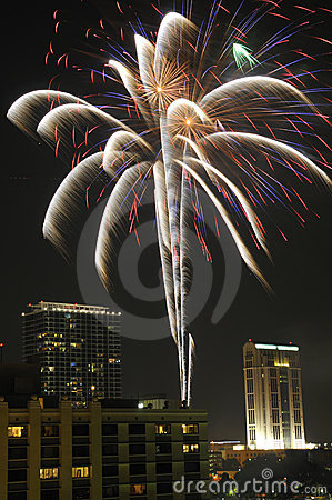 Free Downtown Orlando Fireworks Royalty Free Stock Images - 12768929