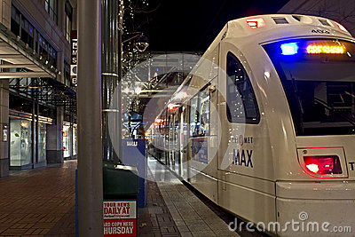 Downtown Portland Oregon Max Train Editorial Photography