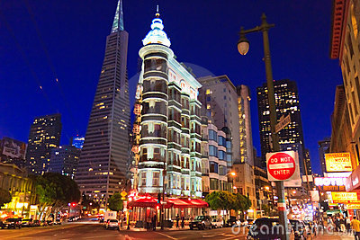 Downtown San Francisco at night Editorial Photo