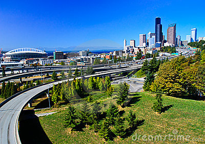 Downtown Seattle city skyline with freeway