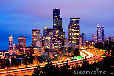 Downtown Seattle At Night Stock Photo Image 9370580