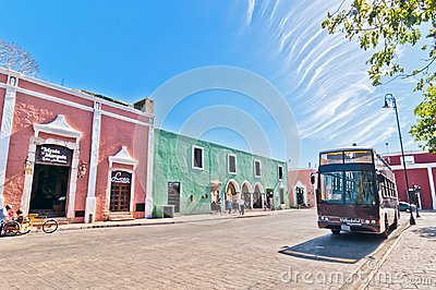 Downtown street view in Valladolid, Mexico Editorial Photography