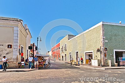 Downtown street view in Valladolid, Mexico Editorial Stock Photo