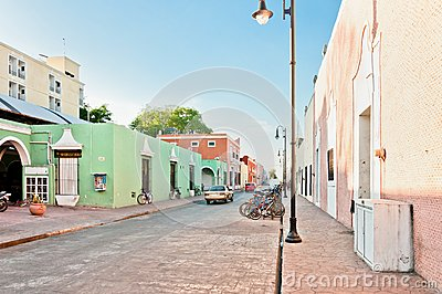 Downtown street view in Valladolid, Mexico Editorial Image