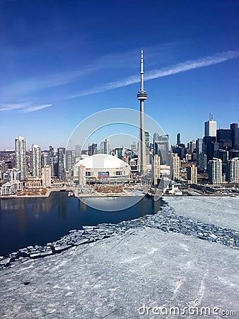 Free Downtown Toronto Skyline, Late Winter, With Ice On Lake Ontario Stock Photography - 54511272