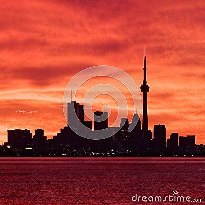 Downtown Toronto waking up to a fiery sky