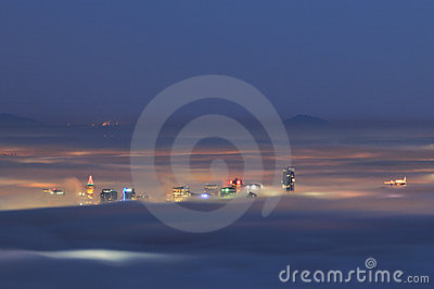 Downtown Vancouver In A Foggy Night Royalty Free Stock Image - Image: 12514996