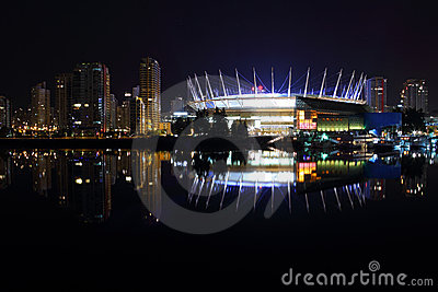 Downtown Vancouver Night Reflections, False Creek