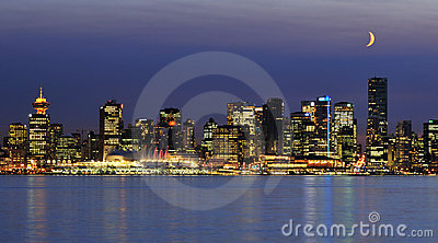 Downtown vancouver night scene