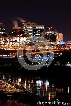 Downtown Winter Night in Edmonton