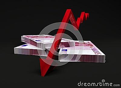 Downward trend arrow on Euros