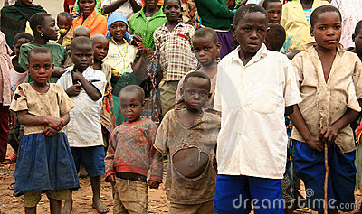 DR CONGO - NOV 2ND : Refugees cross into Uganda Editorial Stock Photo