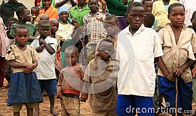 DR CONGO - NOV 2ND : Refugees cross into Uganda Editorial Stock Photo