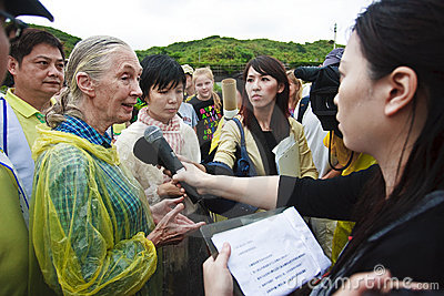 Dr. Jane Goodall in 2010 television interview Editorial Stock Photo