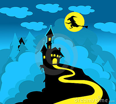 Dracula castle and witch
