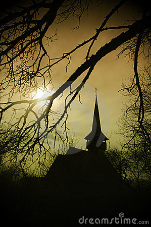 Dracula s land at sunset, church in Transylvania
