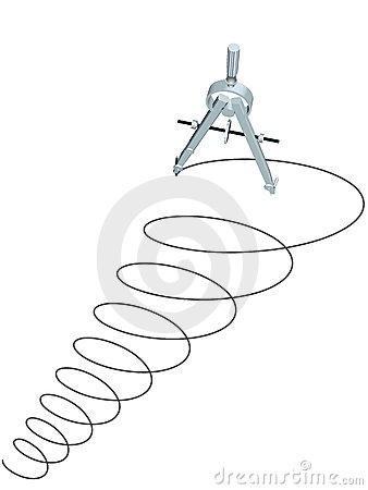 Drafting design compass drawing circles spiral up