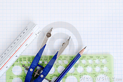 Drafting tools on graph paper